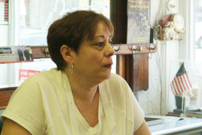 Trish Fiorella at Fiorella Brothers Sausage. Image provided by Historical Society of Pennsylvania