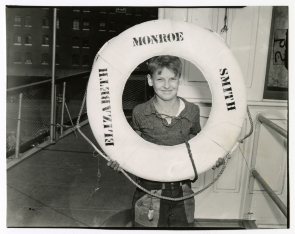 Boy with lifesaver aboard &quot;Elizabeth Monroe Smith&quot; steamship. Image provided by Historical Society of Pennsylvania