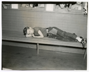 "Boy sleeping on aboard ""Elizabeth Monroe Smith"" steamship. Image provided by Historical Society of Pennsylvania"