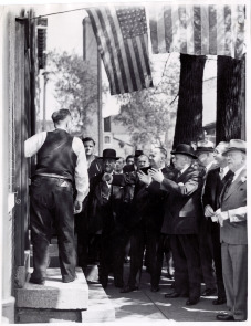 Scene photographed during the May 1940 inspection by Philadelphia City Council of the homes to be demolished for the Old Swedes Housing Project