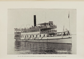 One of the Sanitarium steamboats - &quot;John F. Smith&quot; - returning from the Red Bank toward the close of the day. Image provided by Historical Society of Pennsylvania