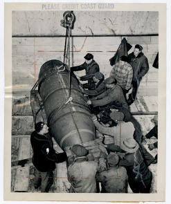 "Coast Guard load ""superbombs"" on a ship at Hog Island. Image provided by Historical Society of Pennsylvania"