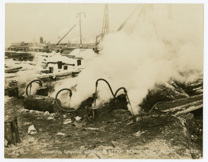 Hog Island--Thawing Ground with Live Steam Before Excavating. Image provided by Historical Society of Pennsylvania
