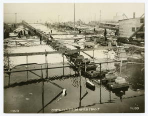 Hog Island--Ship way # 1 From River Front. Image provided by Historical Society of Pennsylvania