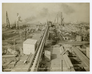 View of ship ways construction at Hog Island. Image provided by Historical Society of Pennsylvania