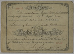 Marriage certificate for Teresa Siciliano and Saverio Celia, Philadelphia, May 28, 1913. Image provided by Historical Society of Pennsylvania