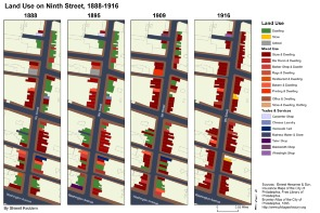 Land Use on Ninth Street, 1888-1916. Image provided by Shimrit Keddem