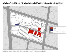 Wallace/Lynd Street (Originally Paschall's Alley), Race/Ethnicity 1930. Image provided by University of Pennsylvania School of Design