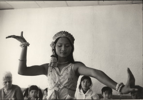 A Cambodian immigrant dances in her South Philadelphia living room.