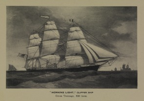 """Morning Light,"" Clipper Ship; Gross Tonnage, 850 tons. Image provided by Historical Society of Pennsylvania"