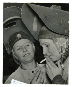 [Time out for two female Cramp&#039;s Shipyard employees]. Image provided by Historical Society of Pennsylvania