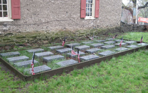 The Sons of the American Revolution paid for these 28 headstones to mark soldiers whose exact burial place in the cemetery are unknown.