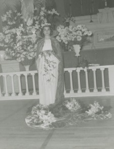 Our Lady of Angels May Queen, in front of the altar in OLA Church, 1958.