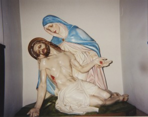 Our Lady of Angels  interior, pieta statue -- Mary cradling the body of Christ. circa 2001