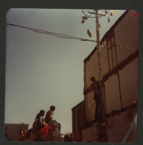 Greased pole. Our Lady of Angels Feast Day, 1978.