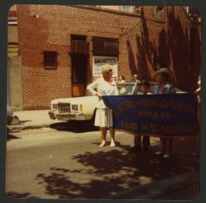 Our Lady of Angels Feast, 1978. Parade banner.