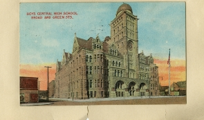 Boys Central High School Tinted Postcard
