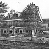 A lithograph of the Green tree Tavern from about 1875