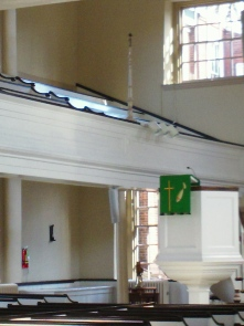 The balcony in St George's church Sanctuary