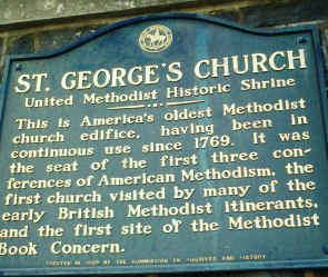 A plaque commemorating the founding of St Georges church in 1769